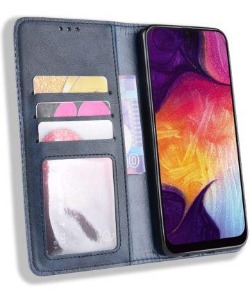 Samsung Galaxy A50 Book Case Hoesje Vintage Wallet Kunst Leer Blauw Hoesjes