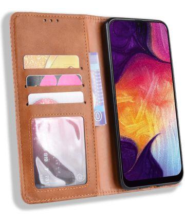 Samsung Galaxy A50 Book Case Hoesje Vintage Wallet Kunst Leer Bruin Hoesjes