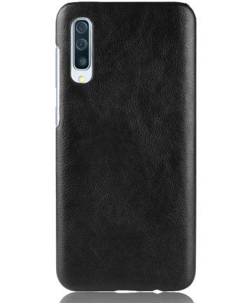 Samsung Galaxy A50 Hoesje met Kunstleer Coating Zwart Hoesjes