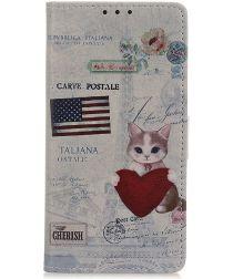 Samsung Galaxy A50 Book Case Hoesje Wallet Print USA Flag & Cat