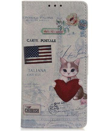 Samsung Galaxy A50 Book Case Hoesje Wallet Print USA Flag & Cat Hoesjes