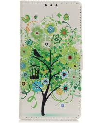 Samsung Galaxy A50 Book Case Hoesje Wallet Print Flower Tree