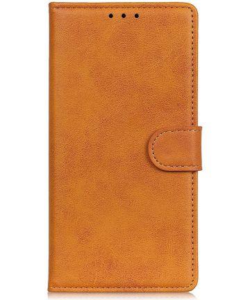 Samsung Galaxy A50 Book Case Hoesje Stand Wallet Kunst Leer Bruin Hoesjes