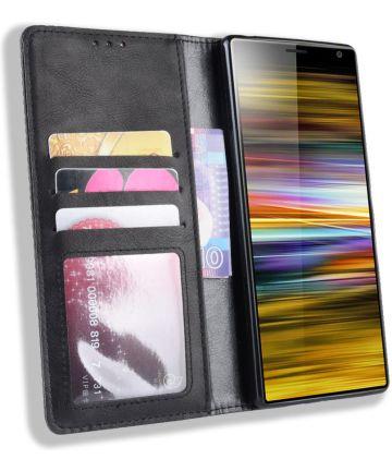 Sony Xperia 10 Plus Vintage Portemonnee Hoesje Zwart Hoesjes