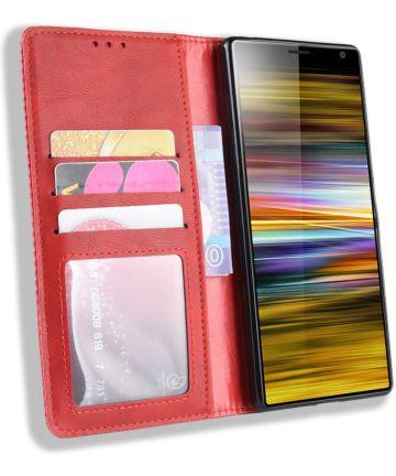 Sony Xperia 10 Plus Vintage Portemonnee Hoesje Rood Hoesjes