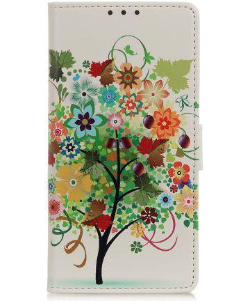 Samsung Galaxy A40 Lederen Portemonnee Hoesje met Tree Print Hoesjes
