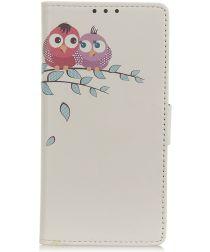 Samsung Galaxy A40 Lederen Portemonnee Hoesje met Little Owls Print