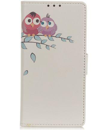 Samsung Galaxy A40 Lederen Portemonnee Hoesje met Little Owls Print Hoesjes