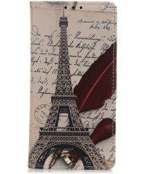 Samsung Galaxy A40 Lederen Portemonnee Hoesje met Eiffel Tower Print