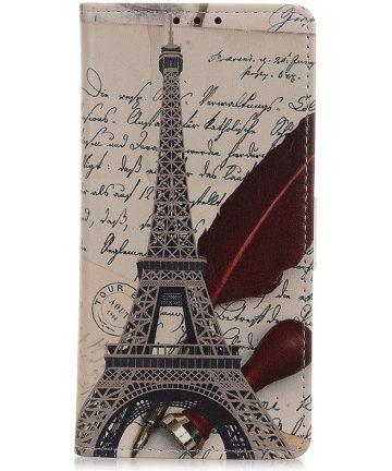 Samsung Galaxy A40 Lederen Portemonnee Hoesje met Eiffel Tower Print Hoesjes