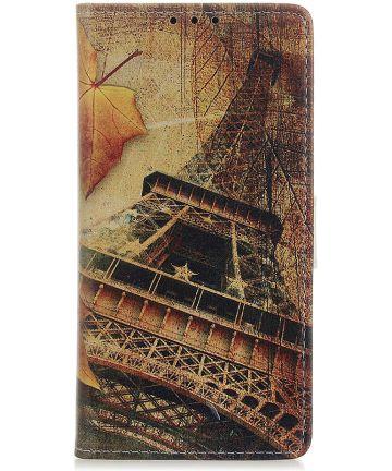 Samsung Galaxy A40 Lederen Portemonnee Hoesje met Eiffeltoren Print Hoesjes
