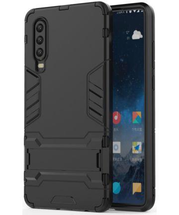 Huawei P30 Hybride Kickstand Hoesje Zwart Hoesjes