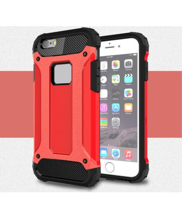 Apple IPhone 6/6S Hoesje Shock Proof Hybride Back Cover Rood Hoesjes