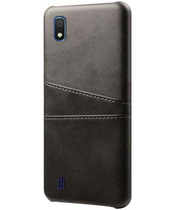 Samsung Galaxy A10 Kunstleren Back Cover met Kaarthouder Zwart Hoesjes