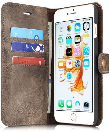 Apple iPhone 6(S) Plus Leren 2-in-1 Bookcase en Back Cover Coffee Hoesjes