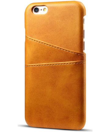 Apple iPhone 6(S) Plus Kunstleren Back Cover met Kaarthouder Bruin Hoesjes