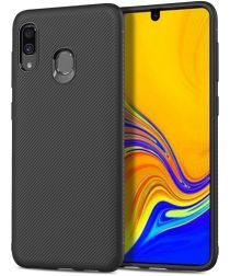 Samsung Galaxy A40 Hoesje Twill Slim Texture Back Cover Zwart