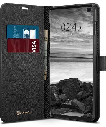 Spigen La Manon Wallet Book Case Samsung Galaxy S10 Zwart Hoesjes