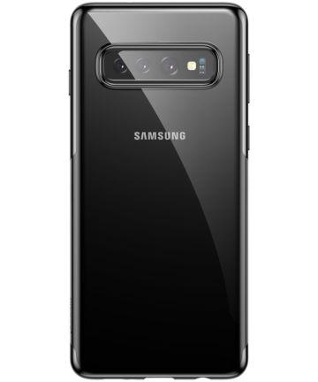 Baseus Shining Transparant TPU Hoesje Samsung Galaxy S10 Zwart Hoesjes