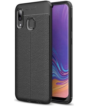 Samsung Galaxy A40 Litchi Hoesje TPU Met Leren Textuur Zwart Hoesjes