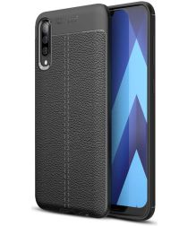 Samsung Galaxy A70 Hoesje TPU Met Leren Textuur Zwart