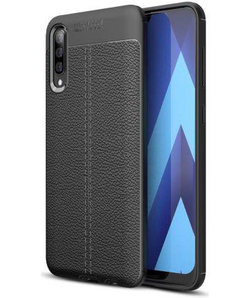 Samsung Galaxy A70 Hoesje TPU Met Leren Textuur Zwart Hoesjes