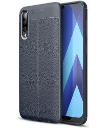 Samsung Galaxy A70 Hoesje met Leren Textuur TPU Hoesje Blauw