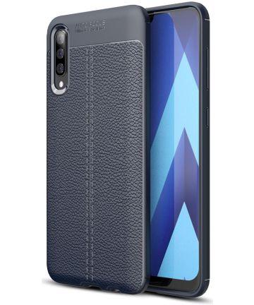 Samsung Galaxy A70 Hoesje met Leren Textuur TPU Hoesje Blauw Hoesjes