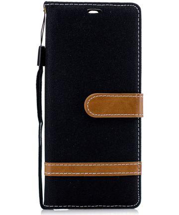 Sony Xperia 10 Jeans Portemonnee Hoesje Zwart Hoesjes