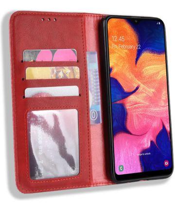 Samsung Galaxy A10 Portemonnee Vintage Hoesje Rood Hoesjes