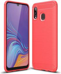 Samsung Galaxy A40 Geborsteld TPU Hoesje Rood