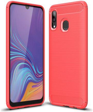 Samsung Galaxy A40 Geborsteld TPU Hoesje Rood Hoesjes