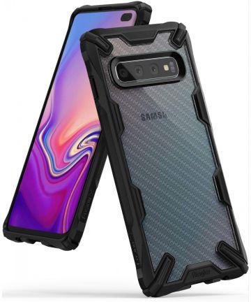 Ringke Fusion X Samsung Galaxy S10 Plus Hoesje Carbon Fiber