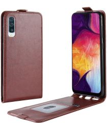 Samsung Galaxy A50 Hoesje Verticale Flipcase Bruin