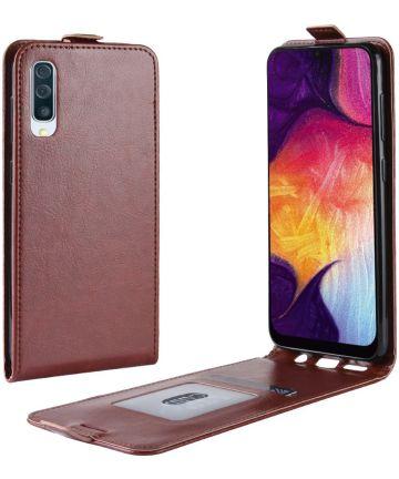 Samsung Galaxy A50 Hoesje Verticale Flipcase Bruin Hoesjes