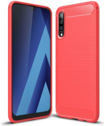 Samsung Galaxy A50 Hoesje Geborsteld TPU Rood