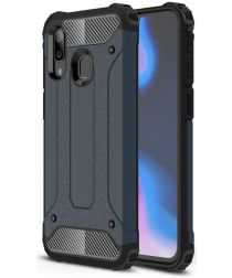 Samsung Galaxy A40 Hoesje Shock Proof Hybride Back Cover Blauw