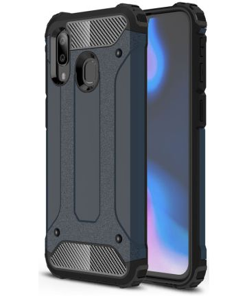 Samsung Galaxy A40 Hoesje Shock Proof Hybride Back Cover Blauw Hoesjes