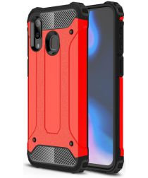 Samsung Galaxy A40 Hoesje Shock Proof Hybride Back Cover Rood