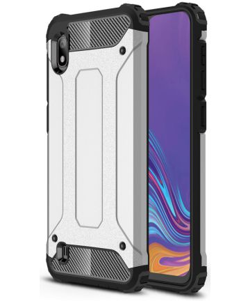 Samsung Galaxy A10 Hoesje Shock Proof Hybride Back Cover Zilver Hoesjes