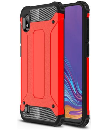 Samsung Galaxy A10 Hoesje Shock Proof Hybride Back Cover Rood Hoesjes