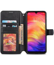 AZNS Xiaomi Redmi Note 7 Leren Stand Portemonnee Hoesje Zwart