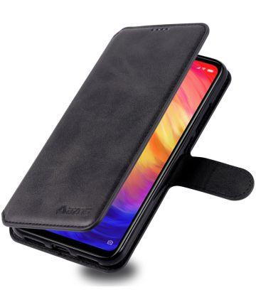 AZNS Xiaomi Redmi Note 7 Leren Stand Portemonnee Hoesje Zwart Hoesjes