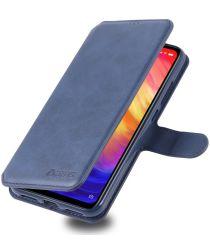 AZNS Xiaomi Redmi Note 7 Leren Stand Portemonnee Hoesje Blauw