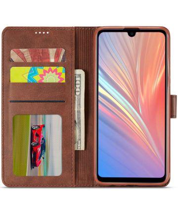 Huawei P Smart (2019) Hoesje Wallet Book Case Kunst Leer Coffee Hoesjes