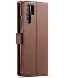 Huawei P30 Pro Book Case Portemonnee Hoesje met Magneetsluiting Coffee