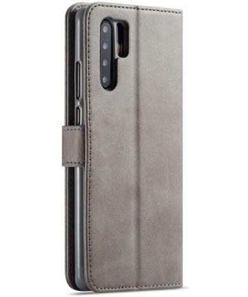 Huawei P30 Pro Book Case Portemonnee Hoesje met Magneetsluiting Grijs Hoesjes