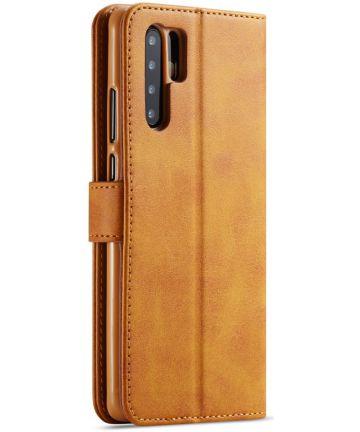 Huawei P30 Pro Book Case Portemonnee Hoesje met Magneetsluiting Bruin Hoesjes