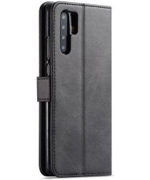 Huawei P30 Pro Book Case Portemonnee Hoesje met Magneetsluiting Zwart