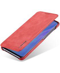 Huawei P30 Lite Portemonnee Bookcase Hoesje met Kaarthouder Rood
